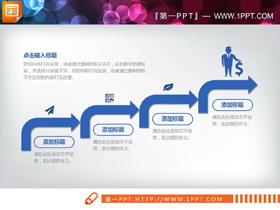 蓝色动态扁平化风格工作汇报PPT图表