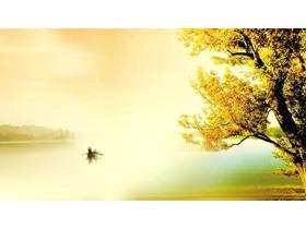 夕阳下泛舟江上唯美风格PPT背景图片