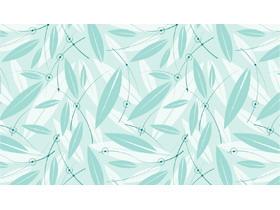 清新绿色矢量绘制的叶子PPT背景图片