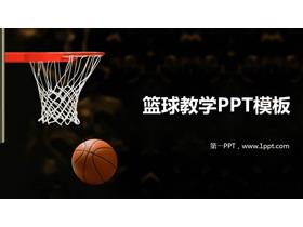 篮球篮筐背景的青少年篮球教学PPT课件模板