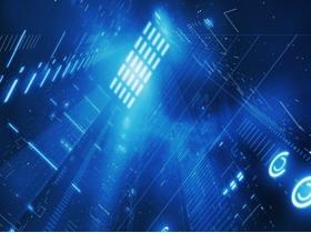 蓝色虚幻科技PPT背景图片