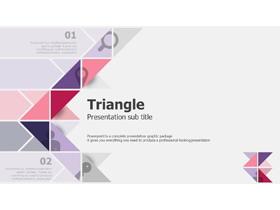 粉色三角形组合背景的欧美PPT模板免费下载