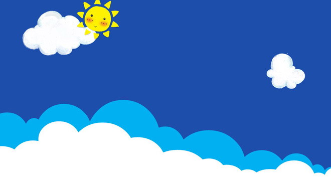 七张卡通蓝天白云ppt背景图片