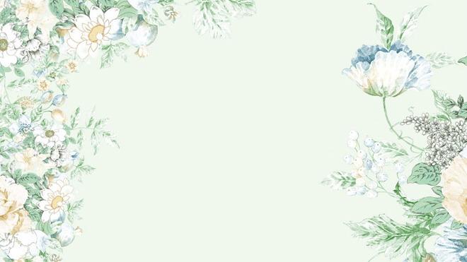 两张绿色清新唯美花卉艺术PPT背景图片