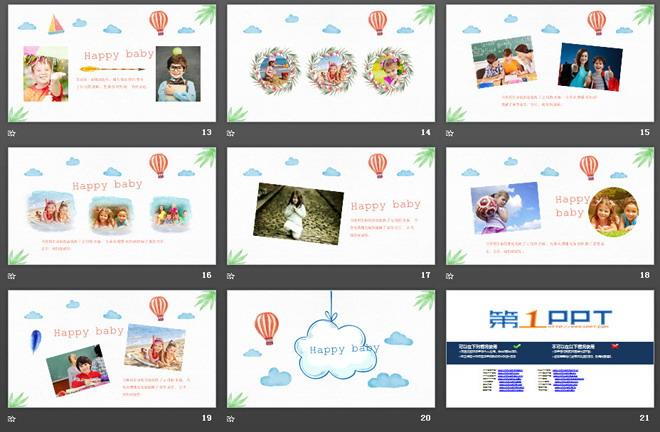 这是一套可爱卡通手绘风格的,儿童旅游相册PPT模板,共20张。第一PPT模板网提供精美卡通幻灯片模板免费下载; 关键词:彩色手绘飞机、热气球、帆船幻灯片背景图片,动态儿童相册PPT模板,手绘风格幻灯片图表,卡通旅游PPT模板,.PPTX格式;