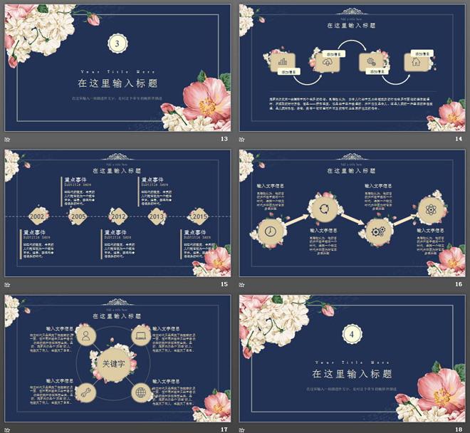 复古奢华花卉背景韩国范PPT模板