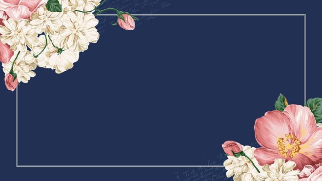 五张复古文艺花卉ppt边框背景图片