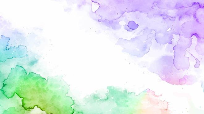 紫绿淡雅水彩晕染ppt背景图片