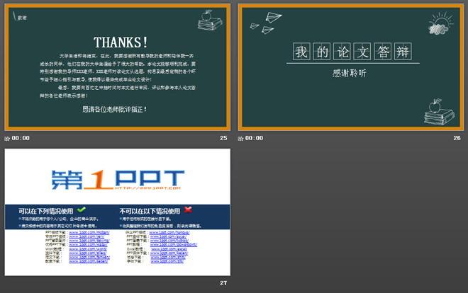 创意黑板手绘背景的毕业答辩PPT模板