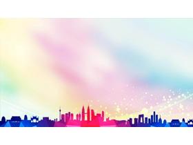 彩色低平面城市剪影PPT背景图片