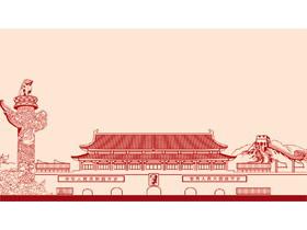 六张红色线条轮廓风格的党政PPT背景图片