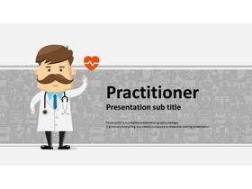 灰色卡通医生背景的医疗医院PPT模板免费下载