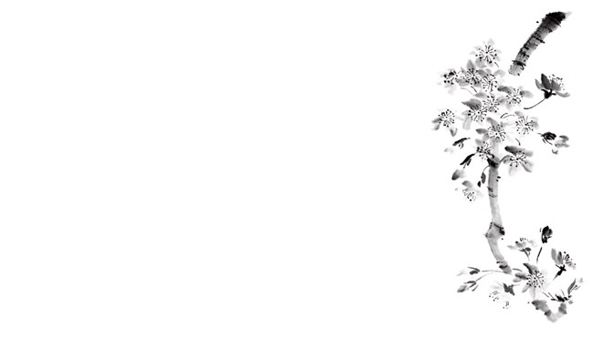 六张黑白水墨山水花鸟中国风PPT背景图片