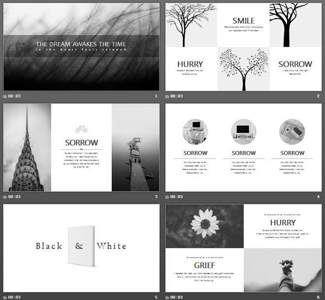 黑白芦苇图片排版背景艺术设计ppt模板