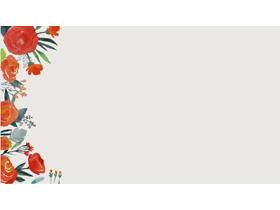 清新水彩艺术花卉PPT背景图片