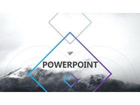 黑白雪山风景背景欧美图片排版设计PPT模板