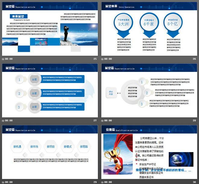 蓝色图文排版设计企业宣传公司简介PPT模板