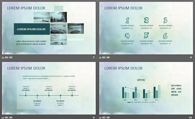 绿色清新柔美竹子背景艺术设计PPT模板