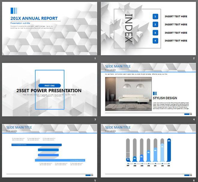 灰色几何立方体背景的通用商务PPT模板