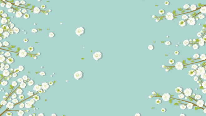 三张绿色唯美小花PowerPoint背景图片