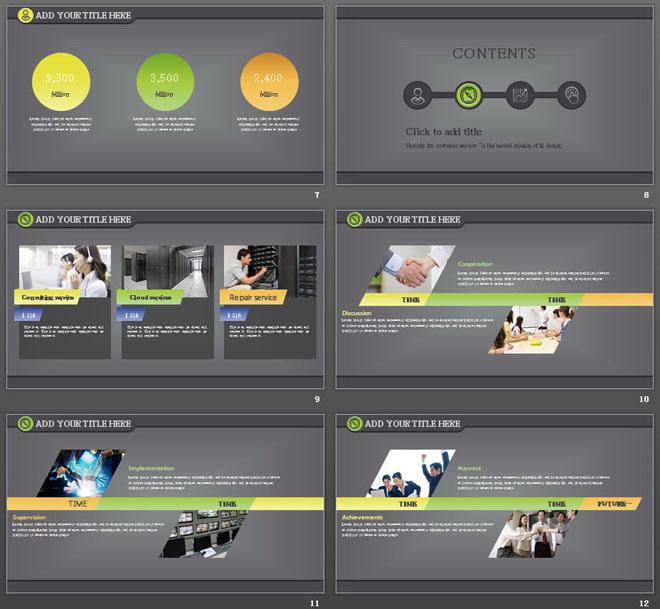 灰色渐变背景UI风格的工作计划PPT模板