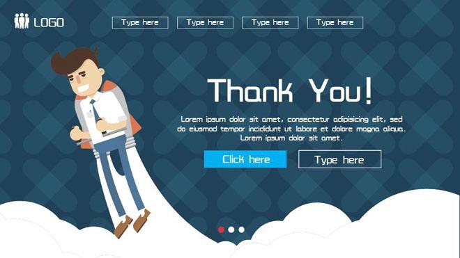 蓝色扁平化商务PowerPoint模板免费下载