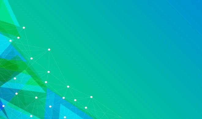 绿色科技风格的点线多边形PPT背景图片