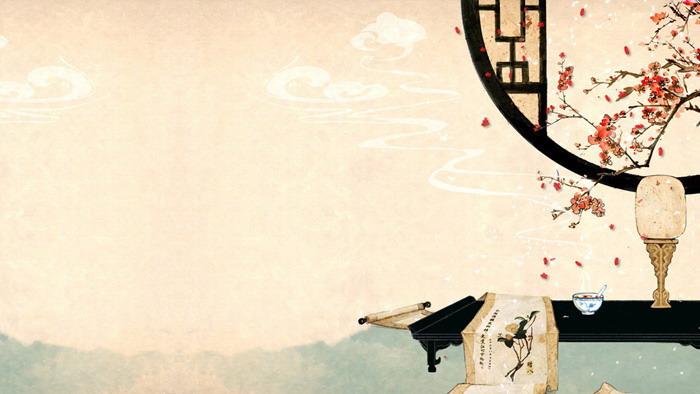 三张淡雅古典中国风PPT背景图片免费下载