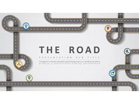 创意卡通高速公路背景PPT模板免费下载
