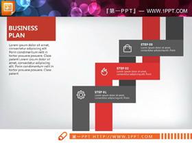 红黄绿蓝四色扁平化商业计划书PPT图表大全