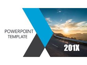 清新马路背景的图片排版PPT模板