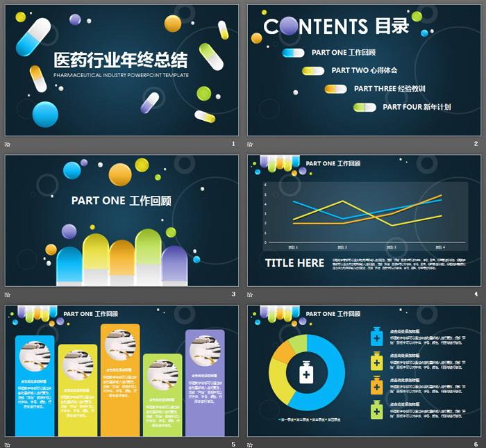 UI胶囊药片背景的医药行业工作总结PPT模板