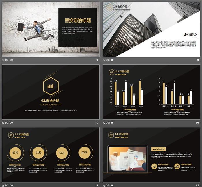 简洁精致黑金配色商业融资计划书PPT模板