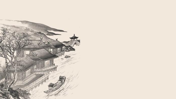 11张古典水墨中国风PPT背景图片免费下载