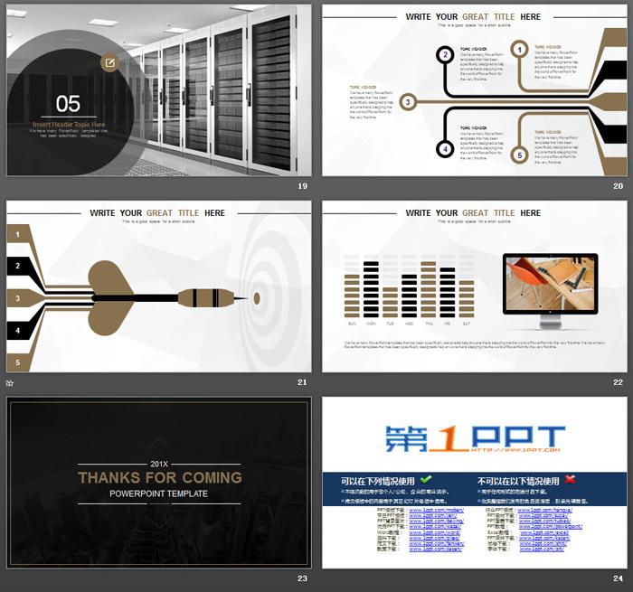 黑色大全沉稳风格的欧美商务PPT模板