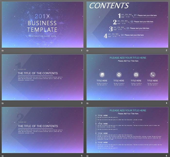 紫色星空背景的科技行业PPT模板免费下载