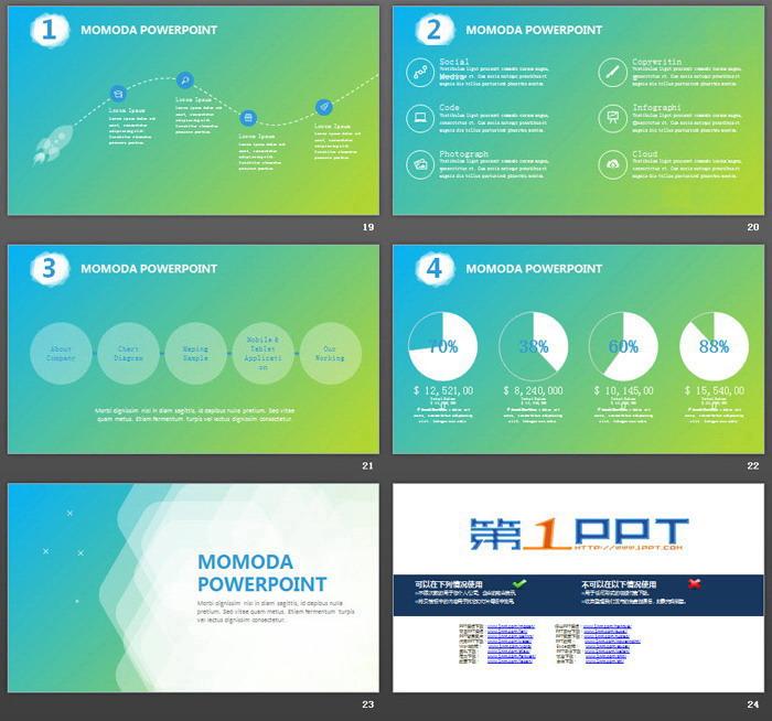 蓝绿渐变背景的欧美商务PPT模板