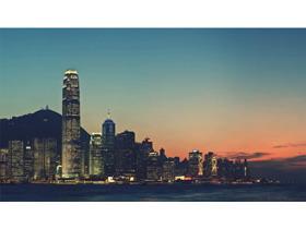 LOMO风格的海滨城市夜景PPT背景图片