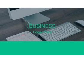 绿色简洁办公桌面背景的工作计划PPT模板