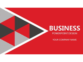 红色欧美三角形排版设计PPT模板