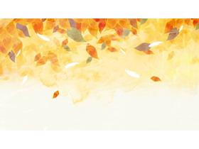 两张唯美秋天落叶PPT背景图片