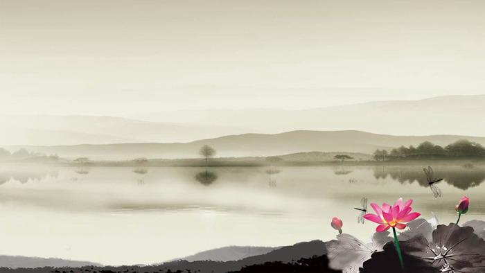 三张古典水墨荷花中国风PPT背景图片