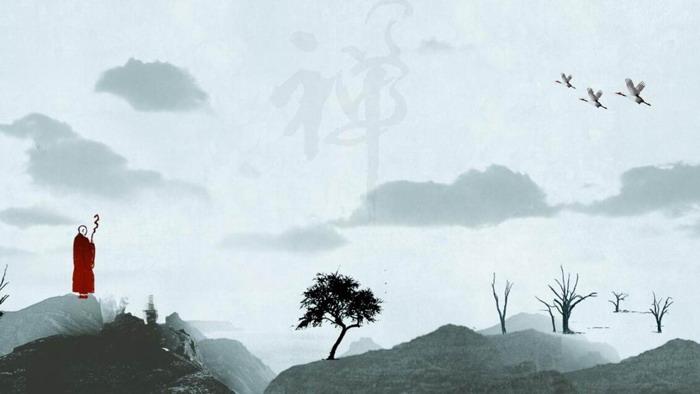 14张淡雅高山流水PPT背景图片