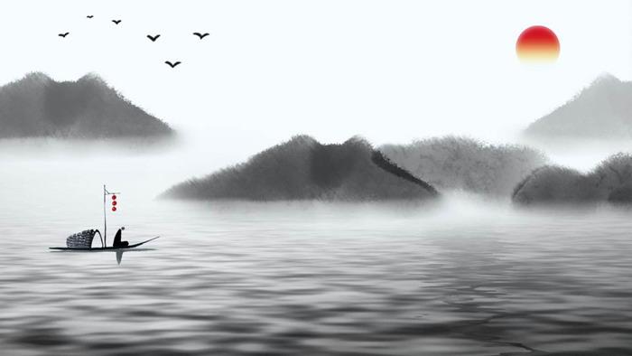11张淡雅黑白中国风PPT背景图片