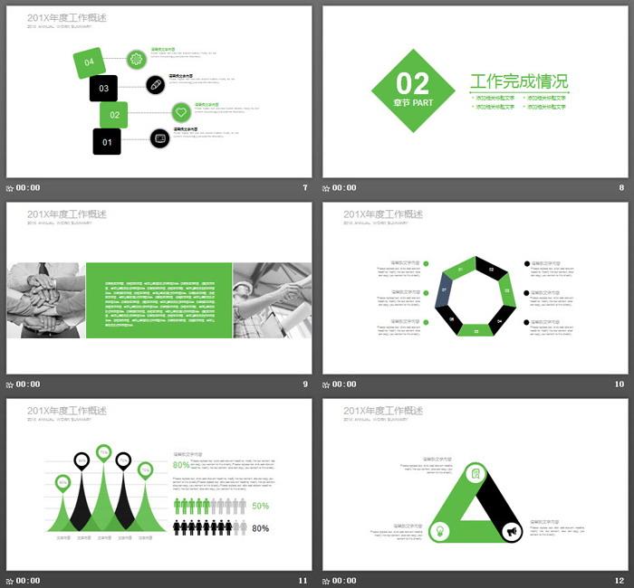 简洁绿黑扁平化风格新年工作计划PPT模板