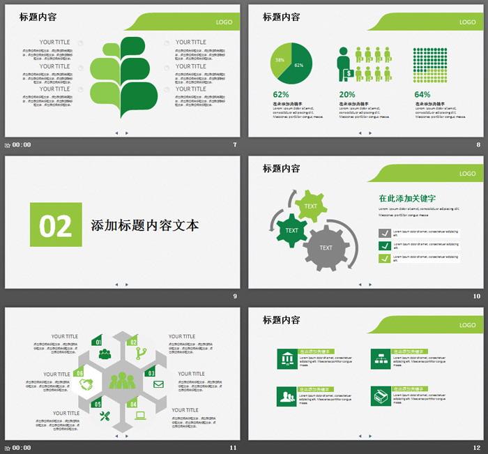 绿色通用简洁扁平化商务汇报PPT模板