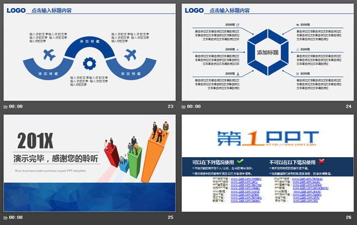 蓝色实用个人述职报告PPT模板