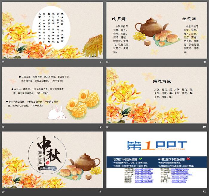 手绘赏月主题中秋节PPT模板