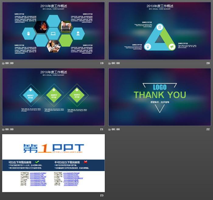 蓝色模糊iOS风格工作总结PPT模板