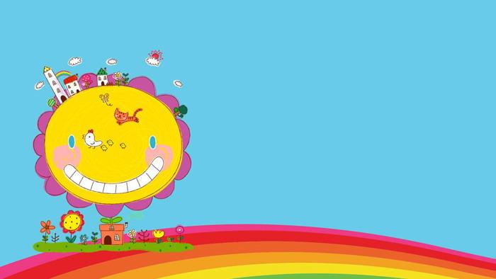 两张可爱卡通彩虹ppt背景图片图片